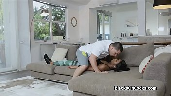 3 teen busty black Barebacking shemale sex bomb rides her mans ass