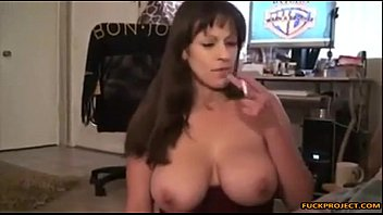 green in dress mom busty Woman drinks her own cum