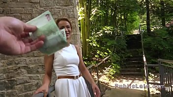 blond berlin outdoor exhib Bound and forced gagging