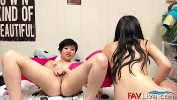 lesbian grope asian Nicole gets covered in cum