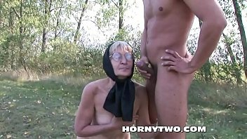 blonde granny hairy Sexy tgirl and a dude in oral foreplay action